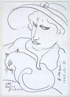 Quadro di Antonio Manzi  Figura con gatto