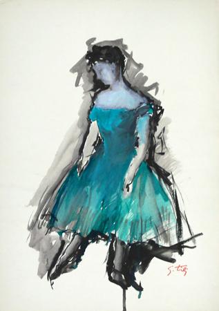 Art work by Gino Tili Ballerina - mixed paper
