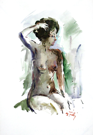 Art work by Gino Tili Nudo - watercolor paper