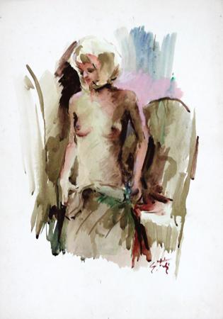 Quadro di Gino Tili Spogliarello - acquerello carta