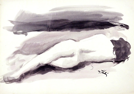 Art work by Gino Tili Nudo di schiena - watercolor paper