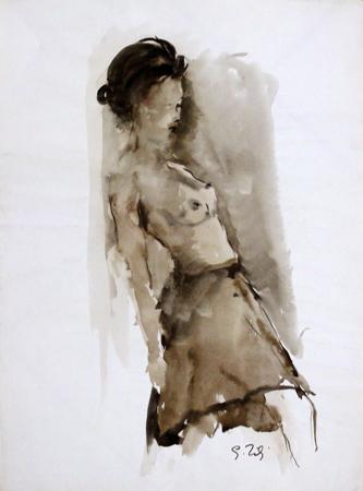 Quadro di Gino Tili Nudo appoggiato - acquerello carta