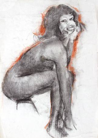 Quadro di Gino Tili Nudo seduto - mista carta