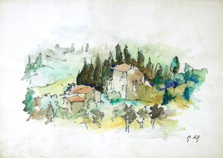 Quadro di Gino Tili Paese - mista carta
