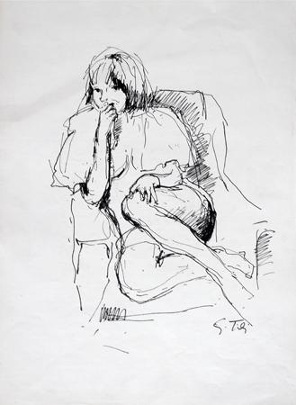 Quadro di Gino Tili Figura seduta - Pittori contemporanei galleria Firenze Art