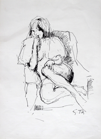 Quadro di Gino Tili Figura seduta - china carta