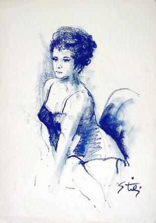 Quadro di Gino Tili Donna in blu - mista carta