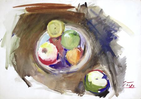 Quadro di Gino Tili Natura morta con mela  - mista carta