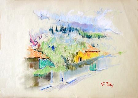 Quadro di Gino Tili Borgo antico - mista carta