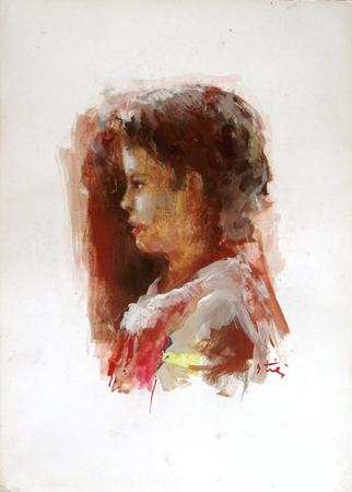 Quadro di Gino Tili Ritratto di profilo - mista carta