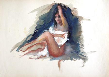 Quadro di Gino Tili Modella seminuda - mista carta