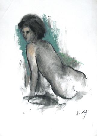 Quadro di Gino Tili Nudo di schiena  - Pittori contemporanei galleria Firenze Art