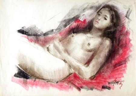 Quadro di Gino Tili Nudo disteso - mista carta