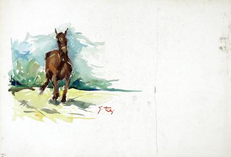 Quadro di Gino Tili Cavallo - tempera carta