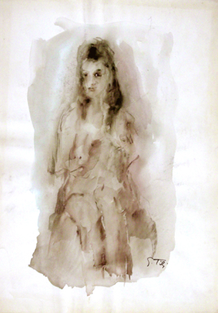 Art work by Gino Tili Donna seduta - watercolor paper