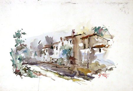 Art work by Gino Tili Case sul Mugnone - watercolor paper