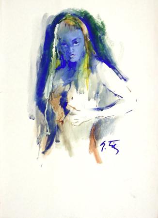 Quadro di Gino Tili Nudo nel blu - mista carta