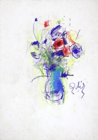 Quadro di Gino Tili Vaso di fiori - mista carta