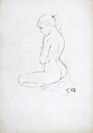Quadro di Gino Tili Nudo in posa - Pittori contemporanei galleria Firenze Art