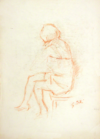 Quadro di Gino Tili Figura seduta - matita carta