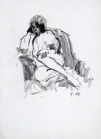 Quadro di Gino Tili Modella sul divano - carboncino carta
