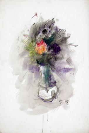 Art work by Gino Tili Vasino con fiori - mixed paper