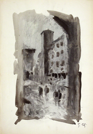 Art work by Gino Tili Ponte Vecchio a Firenze - mixed paper