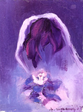 Quadro di Pina Scognamiglio Donna e fiore - olio cartone telato