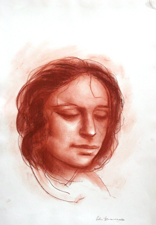 Quadro di Salvo Benincasa Ritratto di donna - sanguigna carta