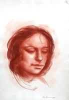 Quadro di Salvo Benincasa - Ritratto di donna sanguigna carta