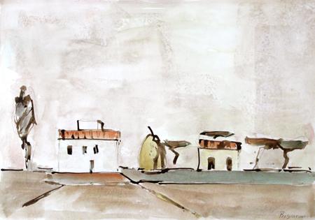 Quadro di Gino Bigiarini Paesaggio - acquerello carta