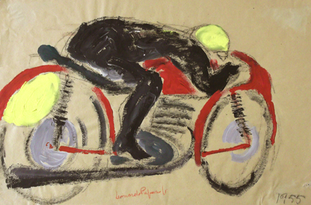 Art work by Leonardo Papasogli In moto - varnish yellow paper