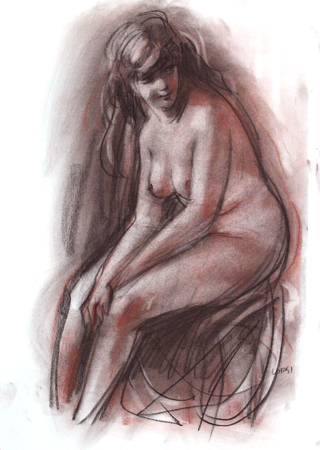 Art work by A. Corsi Nudo - pastel paper