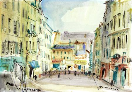 Quadro di Rodolfo Marma Parigi - Montmartre - acquerello carta