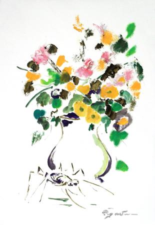 Quadro di Luigi Pignataro Vaso di vetro con fiori - olio carta