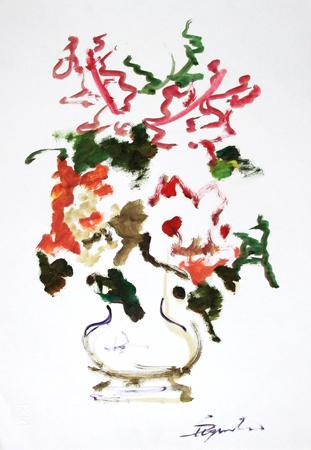 Quadro di Luigi Pignataro Vaso di fiori - olio carta