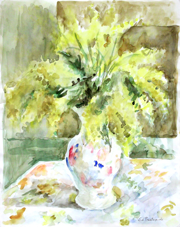 Art work by Edmondo Prestopino Vaso di fiori - watercolor paper