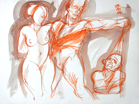 Art work by Claude Falbriard Figure - mixed paper