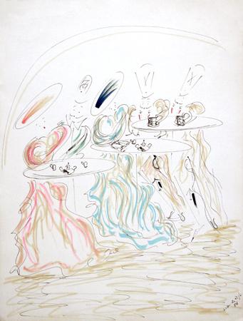 Art work by Daniele Pagli Al caffè - mixed paper
