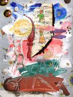 Quadro di Massimo Podestà - Pace gioiosa nel segno dei Pesci mista carta