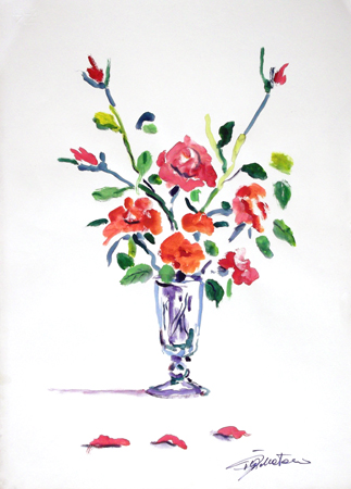 Quadro di Luigi Pignataro Vaso con fiori rossi - olio carta
