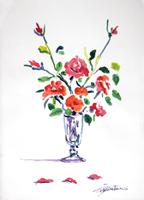 Quadro di Luigi Pignataro - Vaso con fiori rossi olio carta