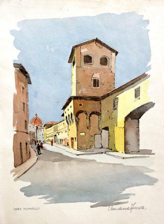 Quadro di Claudio da Firenze Torre Mannelli - acquerello carta