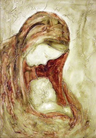 Quadro di  Cafra' Maternità - olio tavola