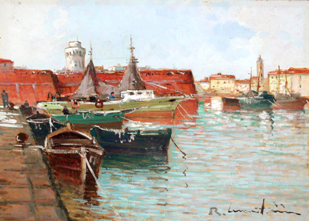 Art work by Renzo Martini La Darsena - Livorno - oil hardboard