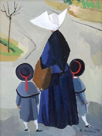 Quadro di Rodolfo Marma Monachina e bimbe - olio tela