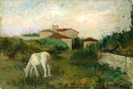 Quadro di Giovanni Malesci Paesaggio - olio cartone telato