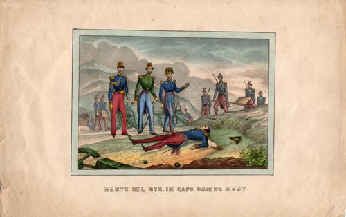 Quadro di  Antiquariato Morte del generale in Capo Damre Mont - mista carta