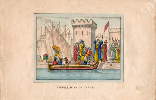 Quadro di  Antiquariato Emigrazione dei Mauri - mista carta