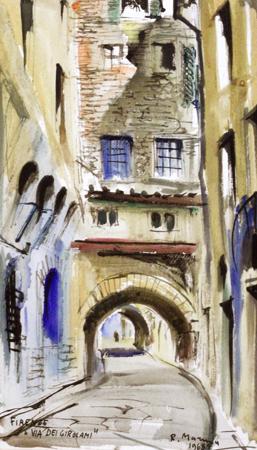 Art work by Rodolfo Marma Via dei Girolami - watercolor paper